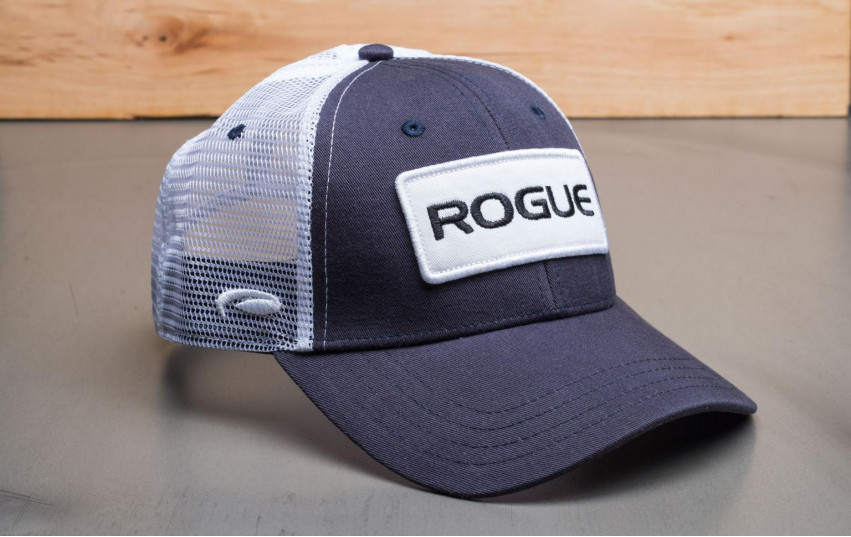 ROGUE PATCH TRUCKER HAT NAVY WHITE