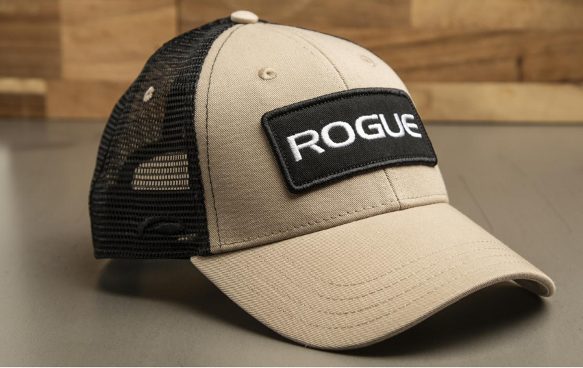ROGUE PATCH TRUCKER HAT TAN BLACK