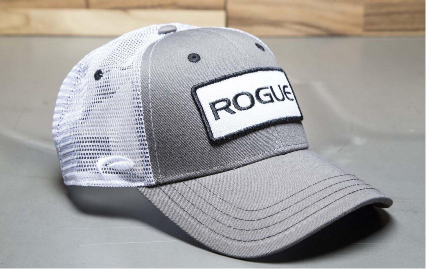 ROGUE PATCH TRUCKER HAT WHITE GREY