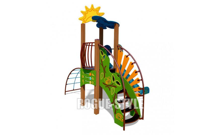 """Игровой комплекс """"Ручеек"""" (канатная лестница и ограждение с пазлом) TE701.2"""